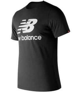 New Balance Essentials Stacked Logo T-Paita Musta