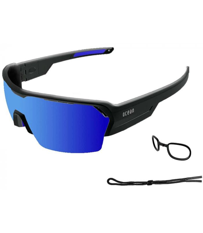 Ocean Race Shinny Black / Revo Blue Ocean Sunglasses Gafas de Sol Sport Gafas de Sol Color: negro