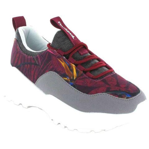 Inégale Chunky Grenat Desigual Chaussures de Femmes de mode de Vie Décontracté Tailles: 37, 38, 39, 40, 41; Couleur: grenat