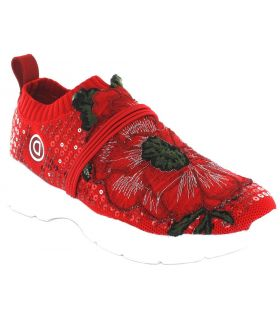 Desigual Flower Knitted Desigual Shoes Women's Casual Lifestyle Sizes: 36, 37, 38, 39, 40, 41; Color: red